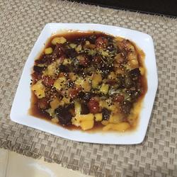 芝士蜜汁紫薯蕃茄加州果