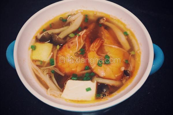 菌菇鲜虾大酱汤