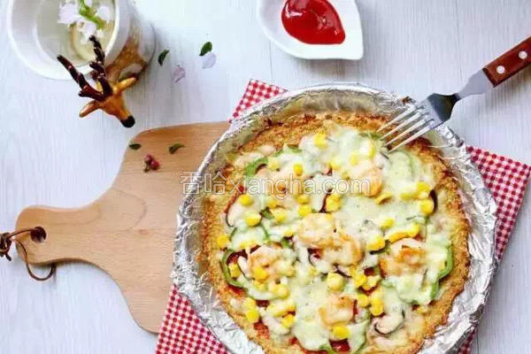 低卡花菜鲜虾披萨