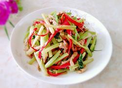 芹菜红椒炒肉丝