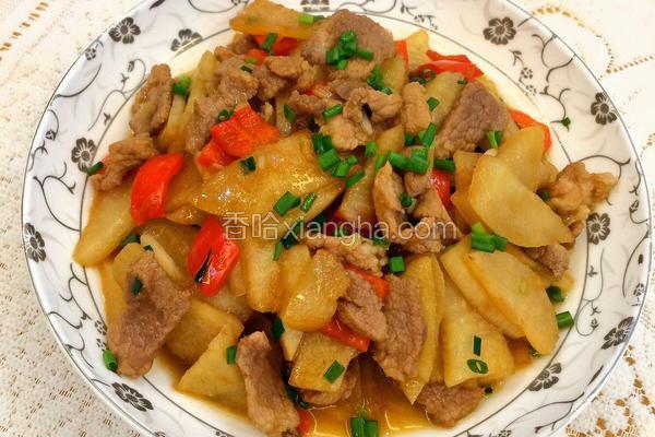 凉薯炒肉片