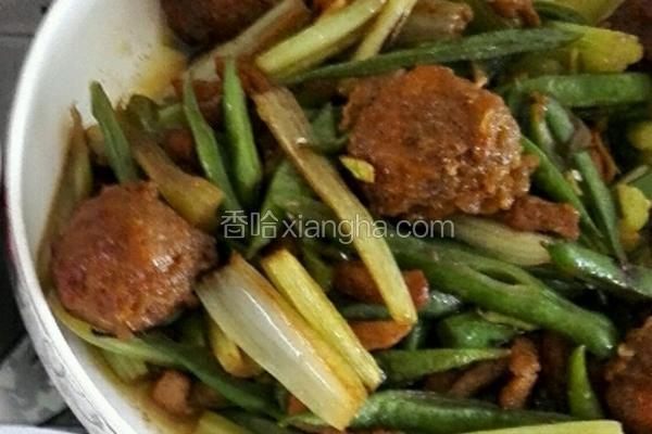 芹菜豆角小炒肉