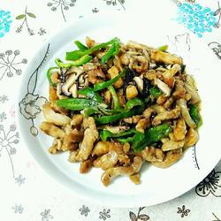 三丝会首(肉、香菇、青椒)的做法[图]