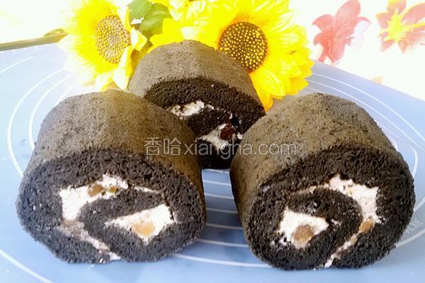 竹炭密豆蛋糕卷