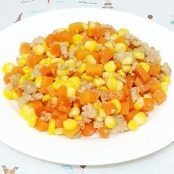 碎肉炒玉米胡萝卜