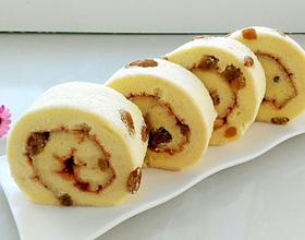 葡萄干果酱蛋糕卷