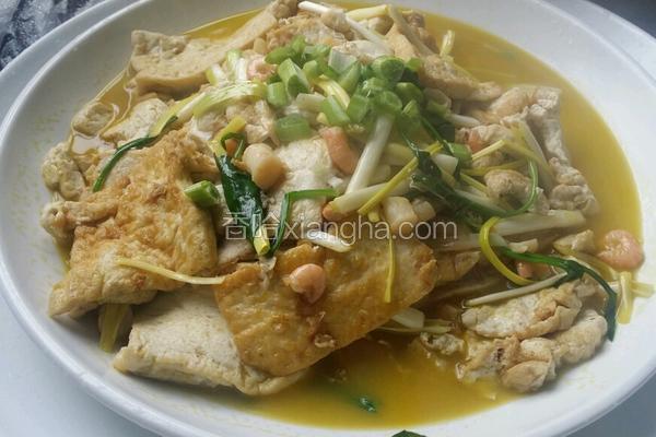 干贝,鲜虾焖豆腐。
