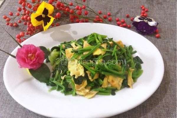 菠菜炒蛋皮