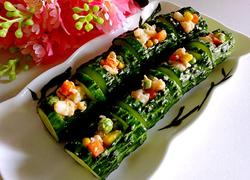 节节高升 黄瓜酿虾仁时蔬