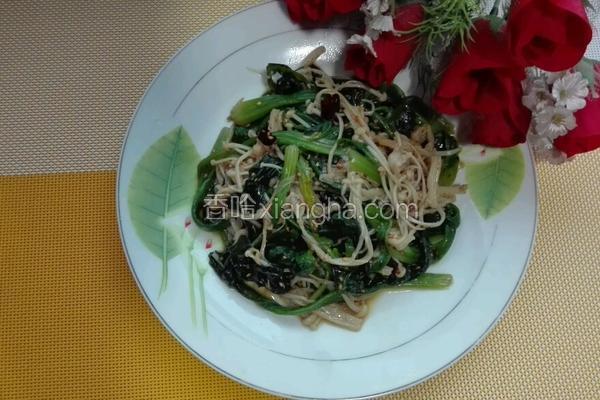 芝麻蚝油拌金针蘑菠菜