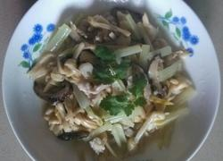 黄花菜炝蘑菇肉丝