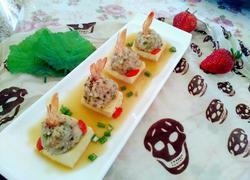 凤尾虾球蒸豆腐