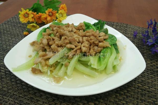 白灼生菜炒肉末