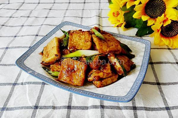 青蒜烧脆皮豆腐