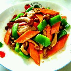 青菜炒滑子蘑