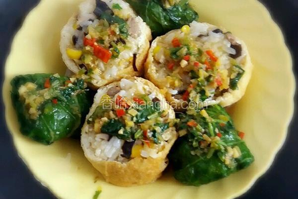 糯米酿豆腐菜包