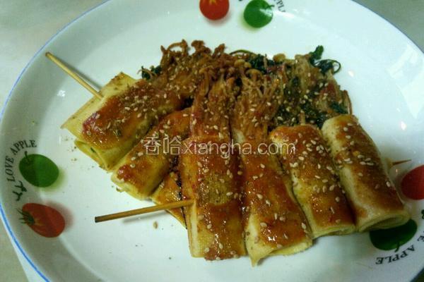 干豆腐卷金针菇