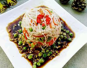 蒜香青豆拌金针菇