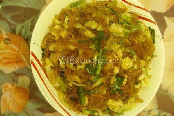 圆包菜炒红薯粉