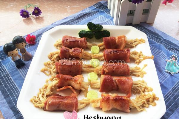 培根肉金针菇卷