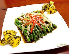 油淋芦笋配海菜窝头