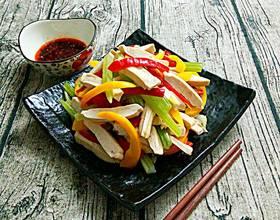 西芹彩椒炒豆腐干