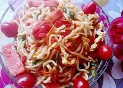 番茄鸡蛋火腿炒面