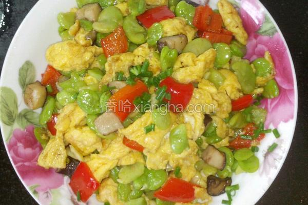 蚕豆香菇炒鸡蛋
