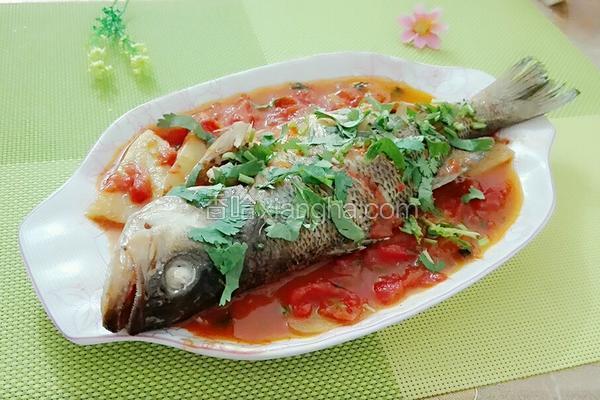 番茄焖鲈鱼