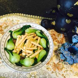 鲜菇炒白菜心