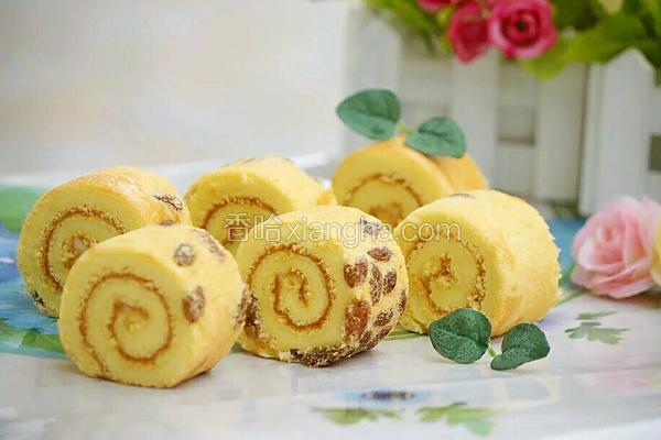 低糖葡萄干蛋糕卷