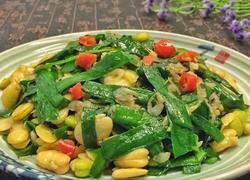 韭菜虾米炒蚕豆