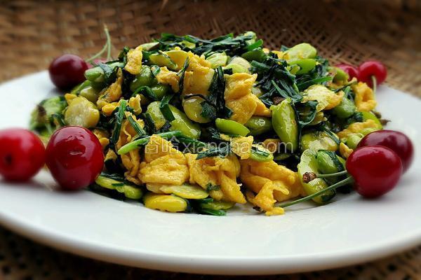 韭菜鸡蛋蚕豆米