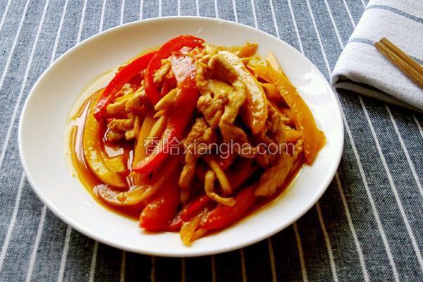 杏鲍菇双椒炒鸡丝