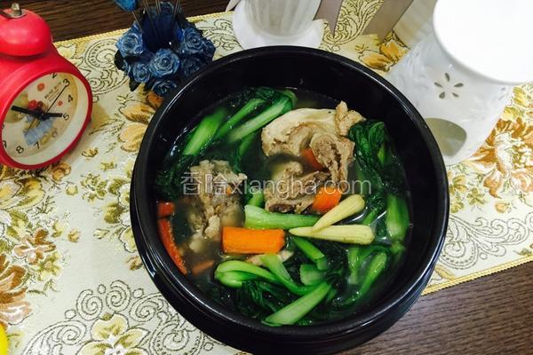 小白菜玉米笋扇骨汤