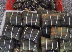 板栗绿豆沙肉粽。板栗蛋黄绿豆沙肉粽