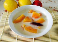 红枣木瓜炖牛奶