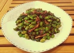 青椒毛豆炒肉丝
