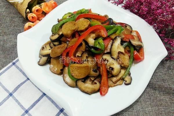 彩椒炒香菇素鸡