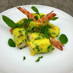 韭菜鸡蛋煎大虾