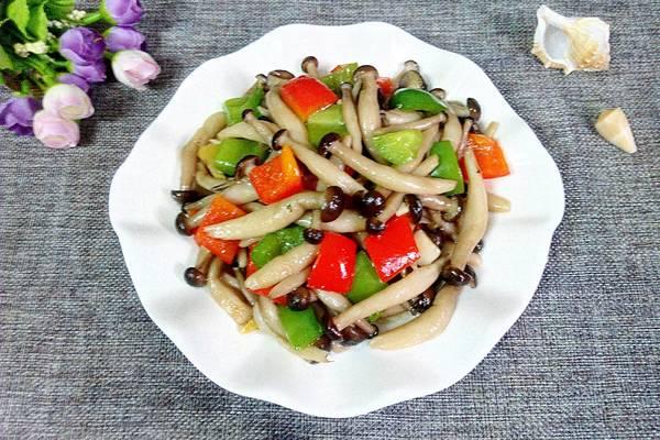 彩椒炒蟹味菇