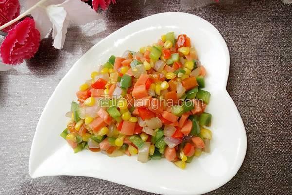 彩椒火腿炒玉米