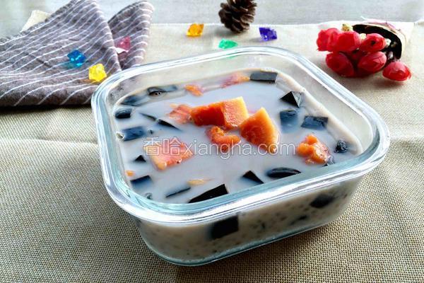 木瓜椰汁西米露配自制龟苓膏