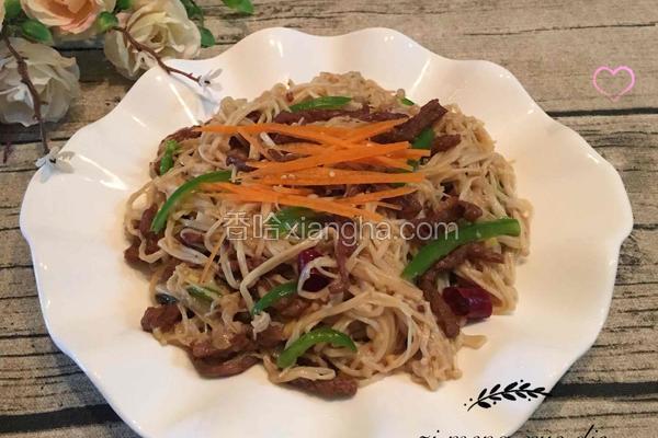 金针菇炒辣椒_金针菇炒牛肉的做法_菜谱_香哈网
