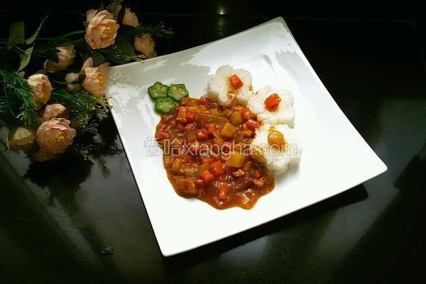 花样鸡肉咖喱饭