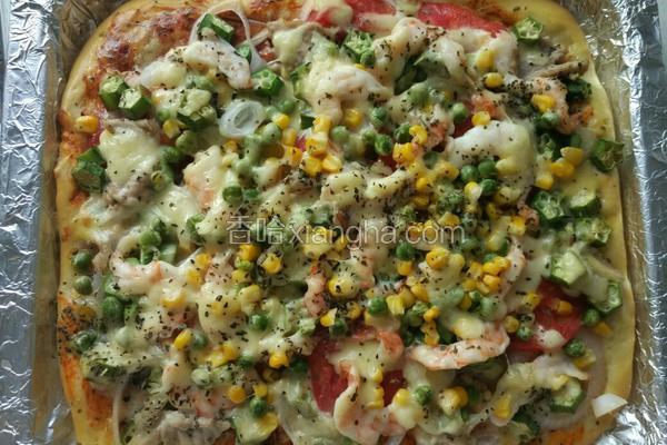 大蝦秋葵披薩