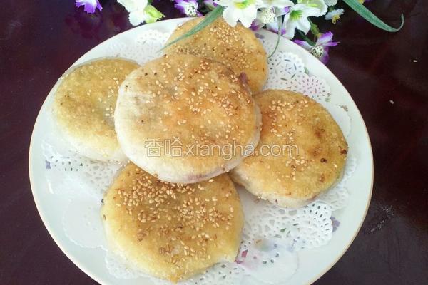 豆沙糯米粉芝麻饼