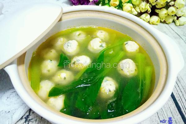 青菜鸡肉丸子汤