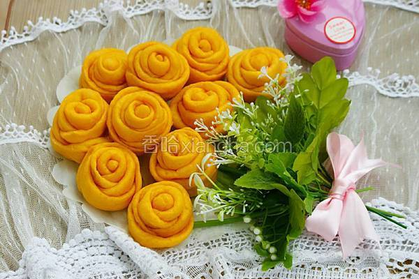 南瓜玫瑰花馒头花束