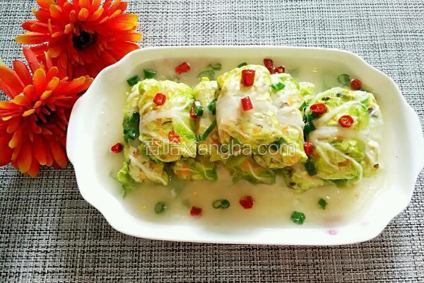 虾仁豆腐白菜卷